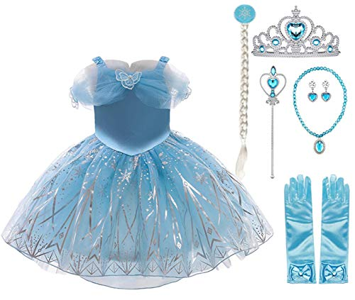Fanessy Disfraz de princesa Cenicienta Deluxe para nias Vestido de Cenicienta azul con tiara y varita mgica para fiesta de carnaval Halloween Navidad