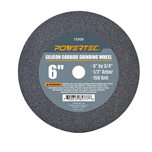 POWERTEC 15508 1/2' Arbor 150-Grit Silicon Carbide Grinding Wheel, 6' x 3/4'