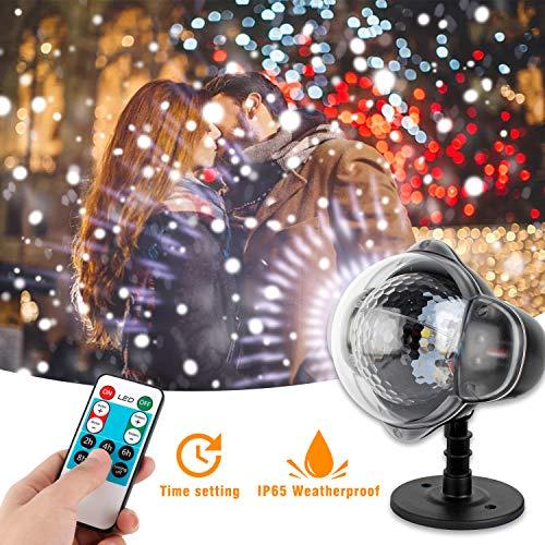 Wilktop Luces Proyector Navidad,Lámpara de Proyección Nieve LED con Control Remoto Proyector de Navidad IP65 al Aire libre a Prueba de Agua Luces de Navidad para Jardín Fiesta de Bodas de Cumpleaños