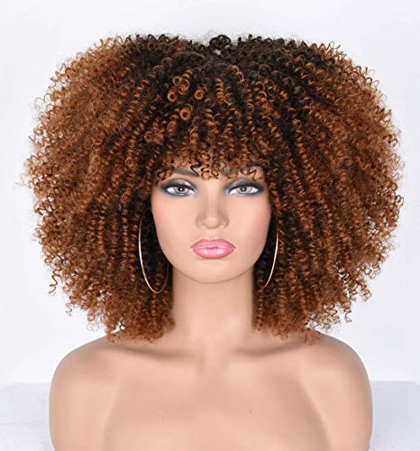 14inch Afro Kinky Curly Wig with Bangs for Black Women Ombre Brown No Glue Full and Fluffy like a Bomb Short Curly Hair Wigs