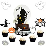 Set of 20 Halloween Cake Topper Haunted House Cake Topper Halloween Cake Decoration Wizard Cupcake Topper Ghost Cake Decoration Pumpkin Cupcake Decoration for Wizard Party Ghost Party Spider Party