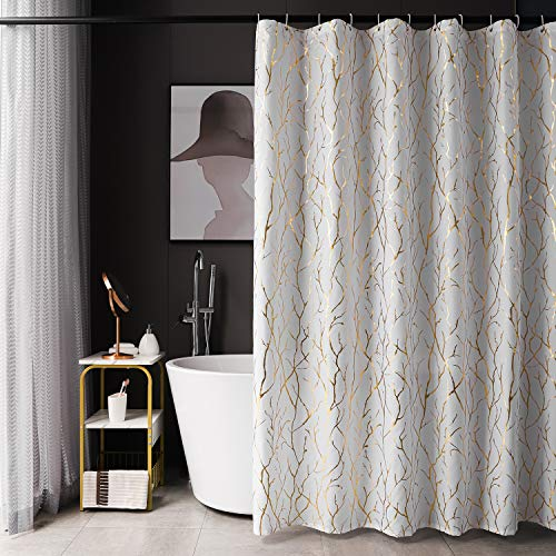 White Shower Curtain with Gold Branch Pattern 12 Hooks Included, 72 x 72 Inch, 1 Panel