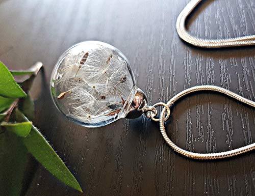 Regalo del dia de las madres Collar clásico del diente de león Cadena de plata esterlina Caja de regalo colgante de flores regalo único para mujeres