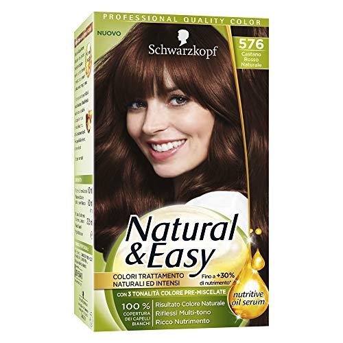 Schwarzkopf Natural & Easy Colorazione Permanente per Capelli con Nutritive Oil Serum, Tonalità 576 Castano Rosso Naturale
