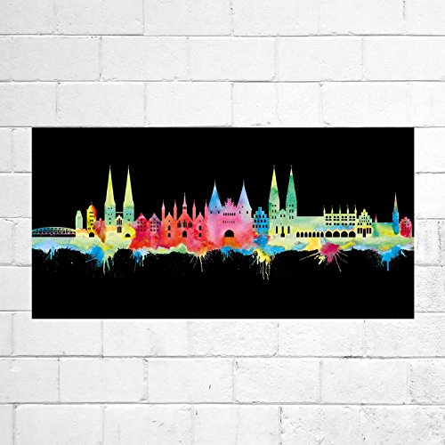 Kunstbruder Lübeck Skyline - Neon (div. Größen) - Kunst Druck auf Leinwand 30x75cm