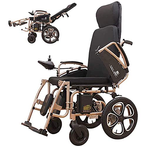 WXDP Autopropulsado Scooter Eléctrico de Movilidad Plegable, Sillas de Ruedas Plegables, s Sillas para Adultos Discapacitados Cuatro Ruedas Automático Inteligente Potente Motor Dual, Fácil de con