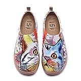 Zapatos sin Cordones para Mujer UIN Cheer Up Cute Cat Zapatos Casuales para Caminar Zapatos Holgados Ligeros Zapatos de Viaje Pintados Lona Azul