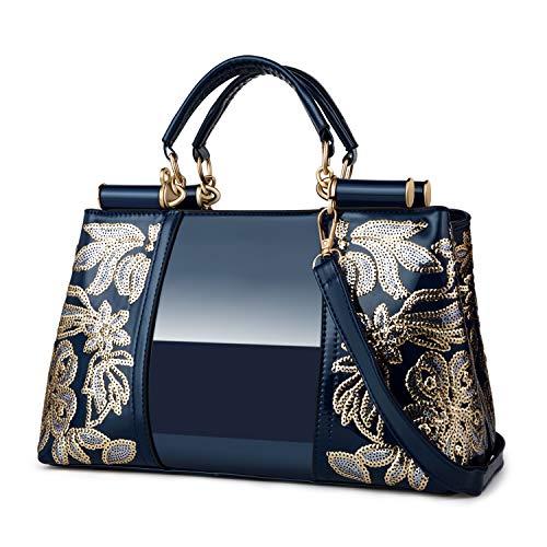 Nevenka Women Patent Leather Fashion Handbags (BLUE)
