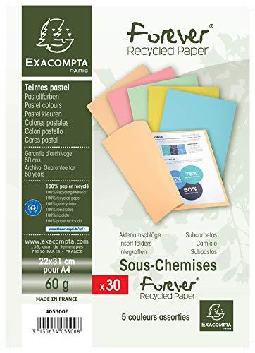 Exacompta 405300E Paquet de 30 Sous-Chemises FOREVER 60, Carte Recyclée Format 22x31 cm 60g/m² pour Format A4, Couleurs Assorties ( bleu clair bulle jaune rose et vert pré)