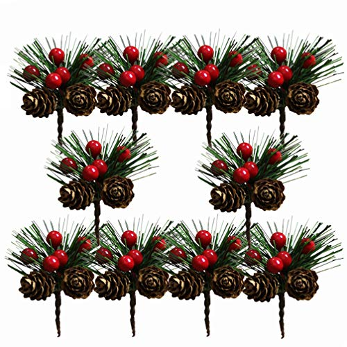 Amosfun 10 Stücke Beerenzweige Tannenzweige Dekozweige Blumenstrauß Künstliche Beeren Zweige für Weihnachten Kranz und Girlande DIY Baumschmuck Christbaumschmuck