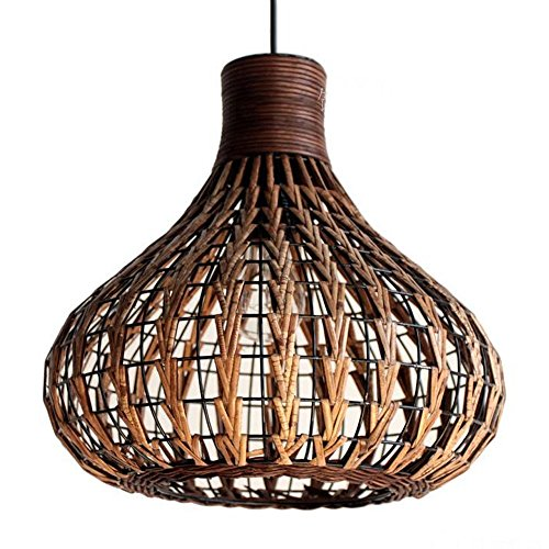 Bagood Natural Bamboo Chandelier DIY Wicker Rattan Lamp Shades Weave Hanging Light Handmade Light fixtures
