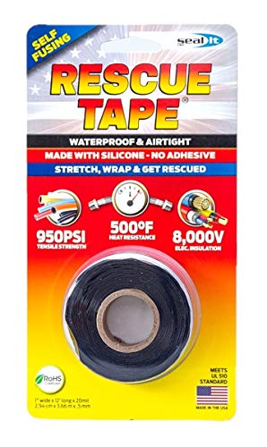 """Rescue Tape   Self-Fusing Silicone Tape   Emergency Pipe & Plumbing Repair   DIY Repairs   Seal Radiator Hose Leaks   Wrap Electrical Wires   Used by US Military   1"""" X 12'   Silicone Rubber   Black"""