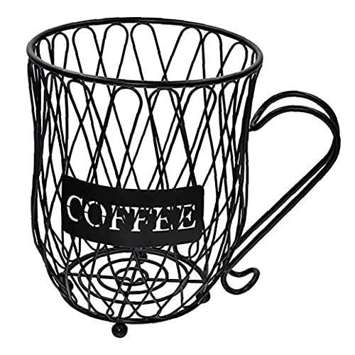 Café de la Vaina de Almacenamiento Cesta Copa K Creamer, Titular de la Taza de café Organizador de Metal con Mango de la cápsula para Bar Negro, Inicio Gadget