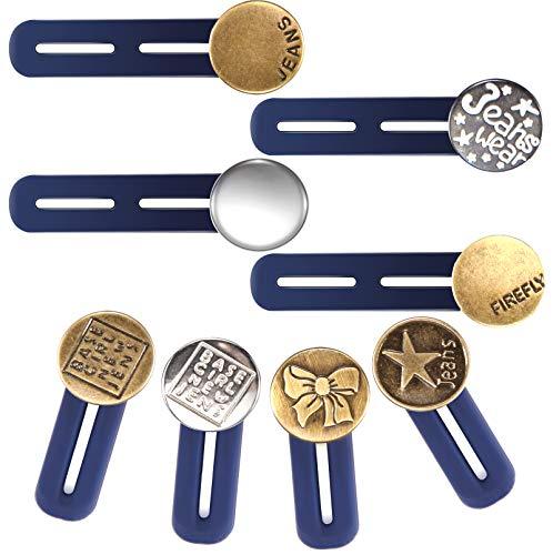 8 Stück Hosenbunderweiterung Knopf Taille Extender Elastischen Metall Knopf Bund Expander Jeans Einziehbare Knöpfe für Hemd Hosen Kleid Hosen