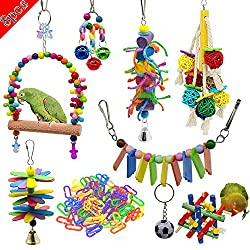 Weiyu8 Package Bird Parrot Swing, chew, Ring Tone and Other Toys - Wall Clock cage Toys Suitable for Parrot, Small Bird, Cornell, Bird, Parrot, Love Bird