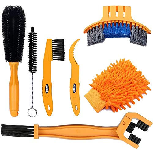 SINGARE 7pcs Bicycle Bike Cleaning Tools Set, Bike Clean Brush Kit Suitable for Mountain, Road, City, Hybrid, BMX and Folding Bike