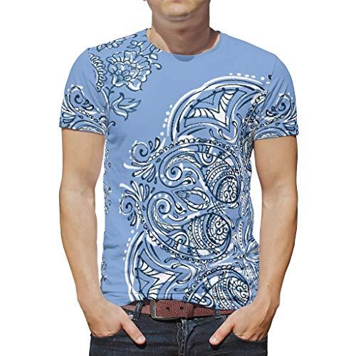 Bekende CornflowerBlue Mandala ontworpen prints mannen T Shirts tieners Top Wear Classic - Comfortabele Top