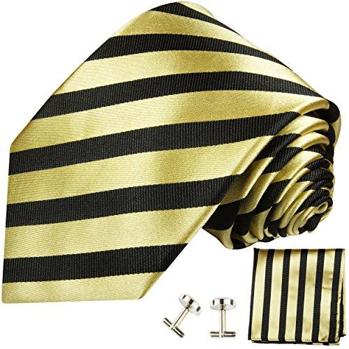 Cravate homme or noir rayé ensemble de cravate 3 Pièces ( longueur 165cm )