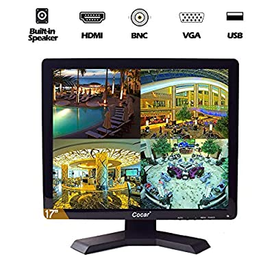 17 inch CCTV Security Monitor with BNC VGA HDMI AV Built-in Speaker 4:3 HD Display LCD Screen Display with USB Media Player for Home Surveillance Camera STB PC