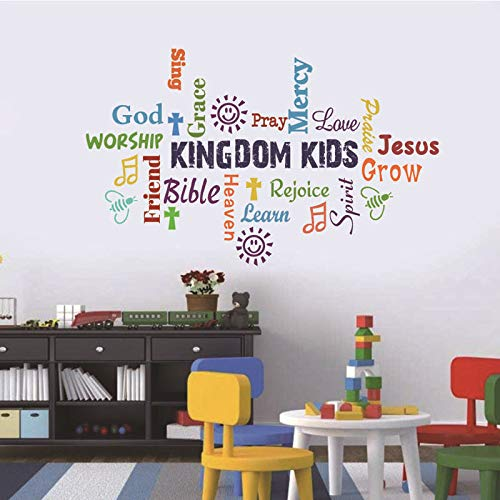 Sunday School Decorations for Kids Classroom Wall Decals Kindom Kids Lettering Inspirational Christian Bible Verse Posters Wall Stickers for Children Classroom Play Room Church Religious Decorations