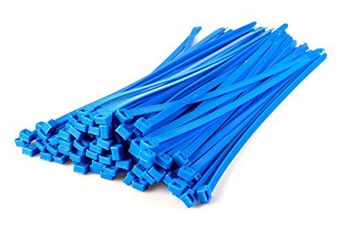 Gocableties, 100 Stück strapazierfähige Nylon-Kabelbinder, hochwertig, robust, 370 x 7,6 mm, blau