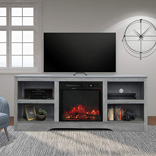 """58"""" TV Stand with Electric Fireplace,Fireplace Console,Storage Shelves Entertainment Center for Living Room,Gray"""