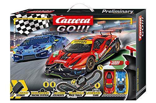 Carrera GO!!! Race the Track Rennstrecken-Set | 6,2m elektrische Rennbahn mit Lamborghini Huracán GT3 & Ferrari 488 GT3 | mit 2 Handreglern & Streckenteilen | Für Kinder ab 6 Jahren & Erwachsene