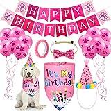 Set de Cumpleaños de Perro Sombrero Bandana Pañuelo Collar de Pajarita Brillante de Perro Banner Happy Birthday y 10 Globos Estampados de Patas de 10 Pulgadas con Cinta (Rosa)