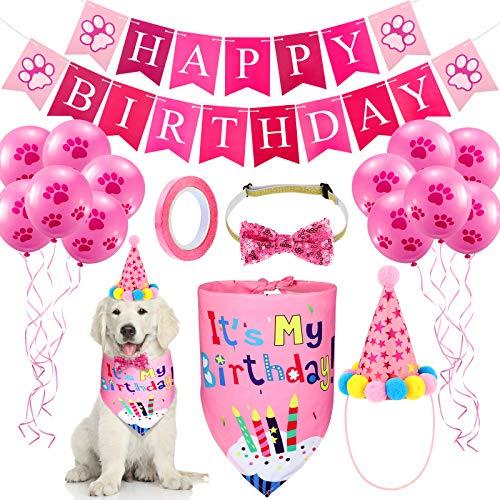 Hund Geburtstag Bandana Hut Set Hund Hut Hund Bandana Schal Glänzend Hund Fliege Halsband Hund Happy Birthday Banner und 10 Stück 10 Zoll Pfotenabdruck Luftballon mit Klebeband (Rosa)