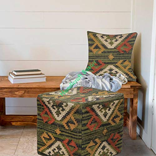 Handicraft Bazarr - Funda de cojín de yute de lana y yute decorativo para puff Kilim Puffe étnico, funda de cojín de yute de 18...
