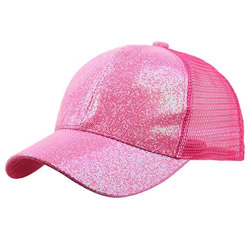 Gorra de Beisbol para Mujer niña Cola de Caballo Gorra de béisbol Lentejuelas Shiny...