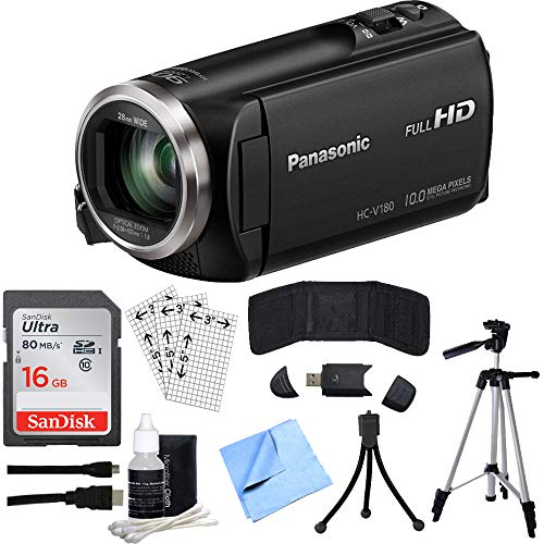 Panasonic HC-V180K Full HD Camcorder with 50x Stabilized Optical Zoom Black Bundle with 16GB Memory Card, Professional Full-Size 60 Inch Camera Tripod, HDMI Cable and Accessories (5 Items)