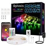Sylvwin Tiras LED 10m,Tiras de Luces LED 10m RGB con Sincronización Musical,Aplicación Bluetooth y 40 Botones Control Remoto para Sala de Estar/Cocina,Decoración de Dormitorio,Fiesta, Bar,TV