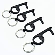 No Touch Door Opener & Stylus Keychain, Non Contact Tool - Pack of 4 (Matte Black)