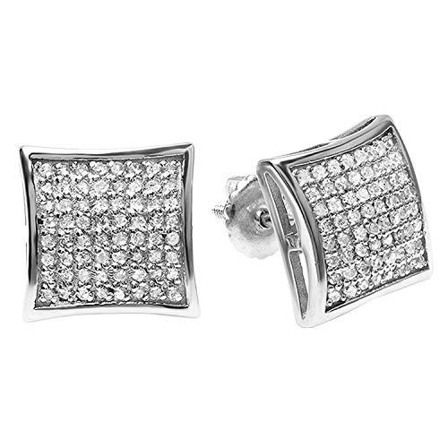 Dazzlingrock Collection - Pendientes de tuerca para hombre (3/4 quilates, diamantes blancos redondos, de 0,75 quilates, plata de ley chapada en platino