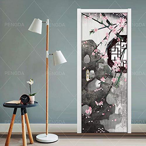 BXZGDJY 3D-deur, zelfklevende film, voor in de tuin, voor op kantoor, bar, deur, plakfolie, bloem, woonkamer, slaapkamer, kinderen, restaurant, kantoor, bar, deur, kunst decoratie 77x200cm