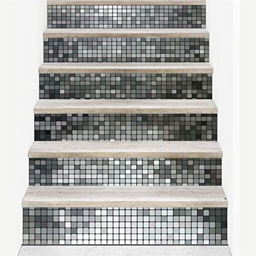 TRJGDCP Pegatinas de escaleras Mosaico Azulejos Patrón Escalera Pegatinas Calcomanías Niños Amor Extraíble Impermeable Escalera Pegatinas de Vinilo for decoración del hogar Pegatinas de Pared Pintura