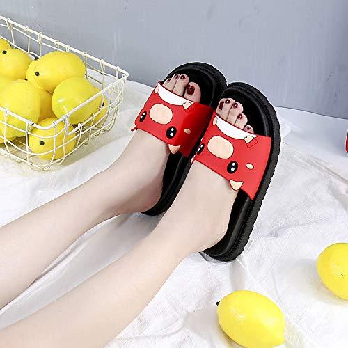 Noctiflorous Tongs Sandales Femmes Plates,Sandales tridimensionnelles à Semelle épaisse, Pantoufles de Bain antidérapantes-C Rouge_41,Extérieur Bain Sandal