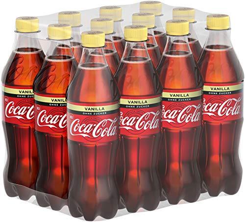 Coca-Cola Zero Sugar Vanilla / Prickelndes koffeinhaltiges Getränk ohne Zucker in praktischen Flaschen mit originalen Vanille Geschmack / 12 x 500 ml Einweg Flasche, 6000 ml