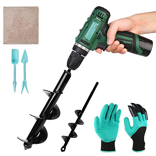 Garden Drill Planter 2PCS Garden Auger Spiral Drill Bit with Garden Gloves and Transplanter for Flower Plants Beet Bulbs Seedlings Planting