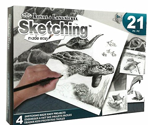 """Sea Life Sketching Made Easy 8""""x10"""" Sketching Kit - Four Different Projects (21 Piece Set)"""