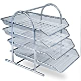Zuvo - Organizador de escritorio de malla metálica con 4 niveles de bandejas para documentos, para casa o para la oficina, color plata