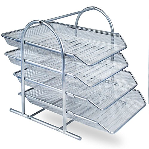 Zuvo Schreibtisch-Organizer aus Netzgewebe, 4 Etagen, Briefablage, Organizer, Büro, Dokumente, Aktenordner, Aufbewahrung, Maschenfüllung, für Zuhause und Büro (Silber)