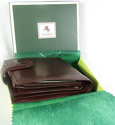 New Visconti Monza Rome Italian Glazed Leather RFID Blocking Men's Wallet Money Bag Style Rome MZ5 (Brown)