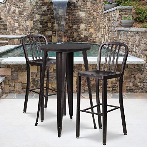 Barhocker, Metall, 76,2 cm Sitzhöhe, Rückenlehne mit vertikalen Latten, für Innen- und Außenbereich, ideal für die gewerbliche Nutzung, Schwarz/Antik-Gold, 2 Stück