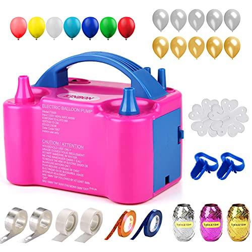 147 Pcs Balloon Pump KINBON Electric Portable Dual Nozzle Electric air Balloon Blower Pump, Electric Balloon Inflator for Party Birthday Wedding Festival
