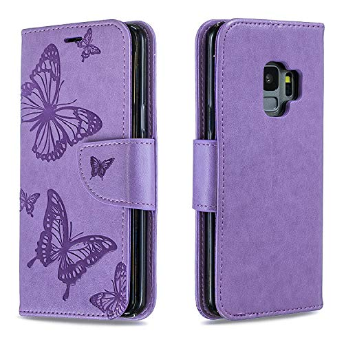 Leather Wallet Case for Galaxy S9 PU Leather Magnetic Flip Cover with Card Slots Holders Bookstyle Wallet Case for Samsung Galaxy S9 - JEBF080318 Purple
