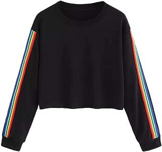 Women's Casual Rainbow Stripe O Neck Crop Tops Blouse Pullover Sweatshirt