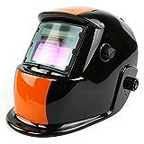 DEKOPRO 自動遮光溶接ヘルメット ソーラー充電式溶接マスク/溶接ヘルメット 調整可能なシャドー範囲4/9-13 遮光速度1/25000秒 MiG、TIG用 アーク溶接機 ブラック&オレンジ