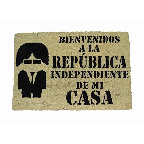 koko doormats Felpudo para Entrada de Casa Bienvenido a la República Original y Divertido/Fibra Natural de Coco con Base de PVC, 40x60 cm